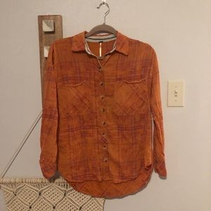 Free People Orange Coral Button Down Cotton Shirt